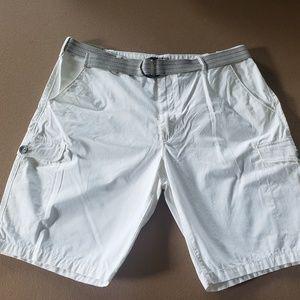 Men's Express Brand White Cargo Shorts